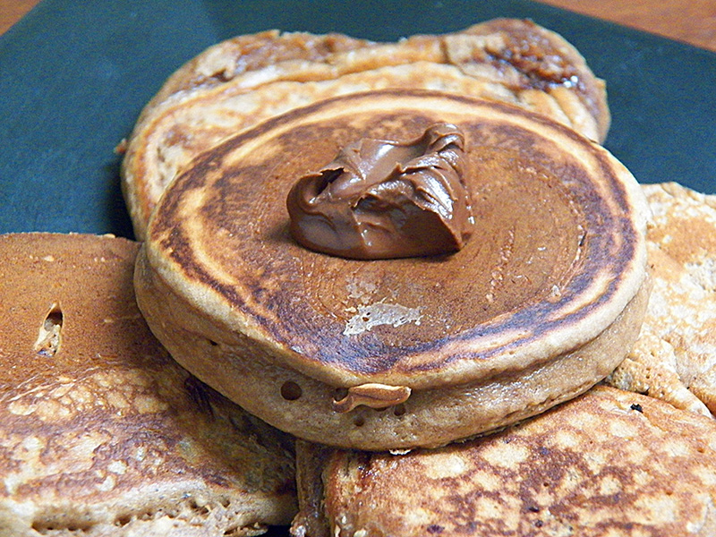 Silver dollar pancakes with Nutella and Bisquick.