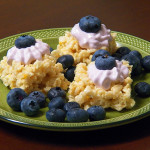 Meyer Lemon Rice Crispy Bites with Blueberry Lavender Marshmallow Frosting