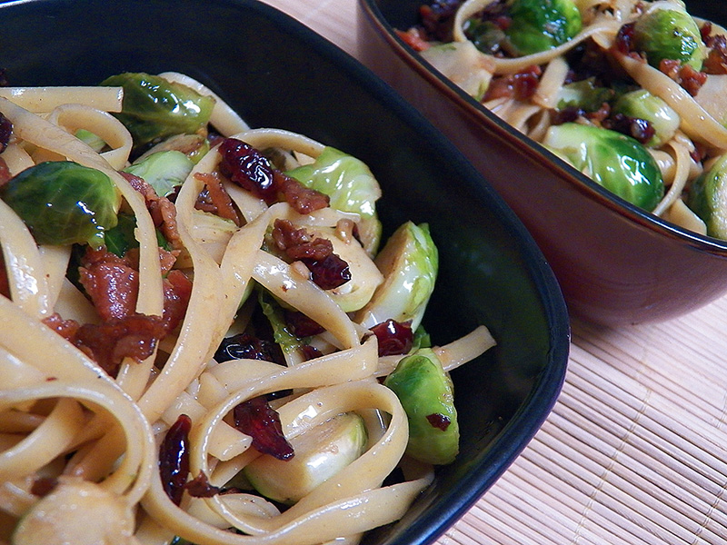 Fettuccine with Dried Cranberries and Caramelized Brussels ...